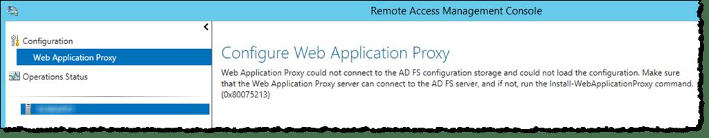 Resolving Web Application Proxy error code 0x80075213 – Mister Cloud