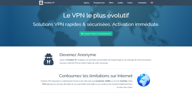 Page d'accueil du site Freedom IP