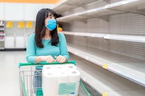 Empty supermarket shelf