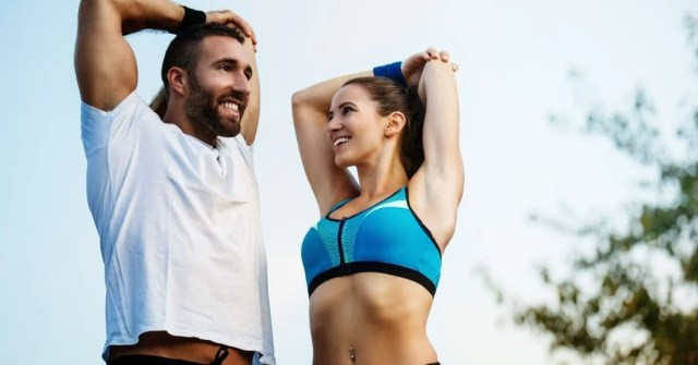Healthy lifestyle- couple stretching