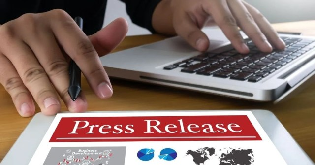 press release being written