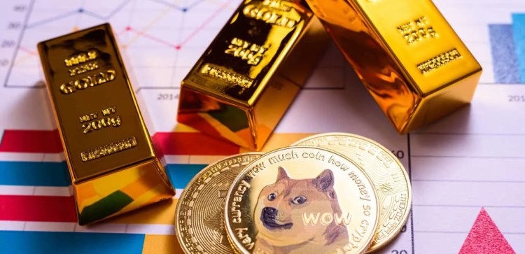 Dogecoin's and gold bars.