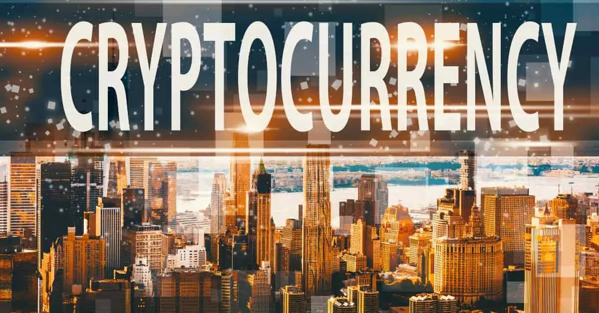 Cryptocurrency sign with buildings- Is Cardano a good investment?