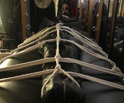 Restrictive bondage at the Leeds BDSM playroom