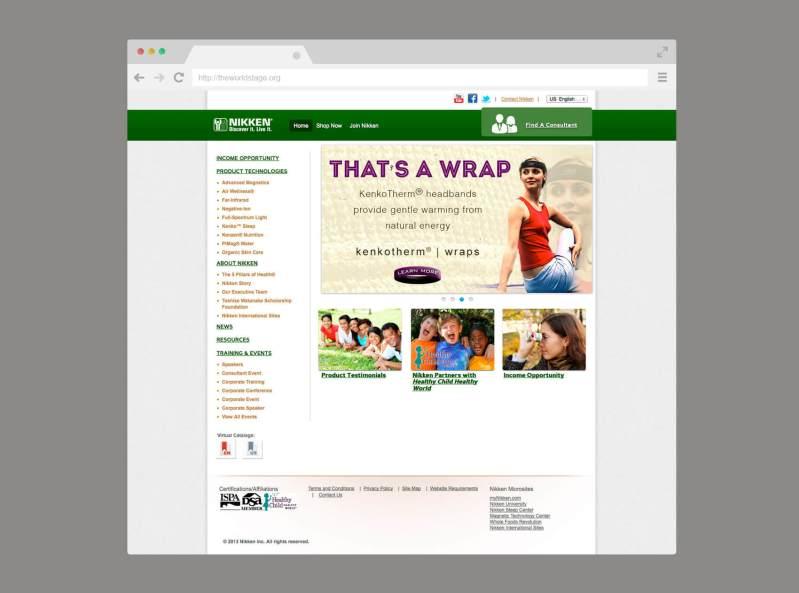 Nikken's website, landing page.