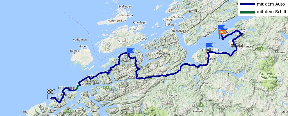 Tagesstrecke Frosta - Ljøsøya