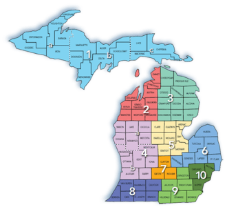 Pure Michigan Talent Connect Region Map of Michigan
