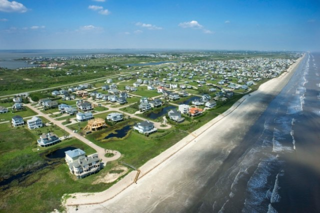 Aerial view of Galveston, Texas