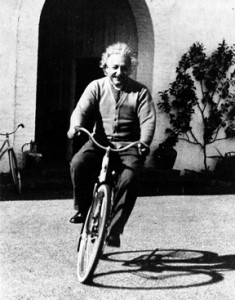 Einstein on bike