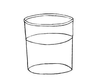 Ein Glas mit einer Flüssigkeit.