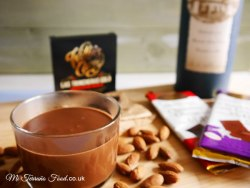 hot chocolate with almonds and chocolate bars