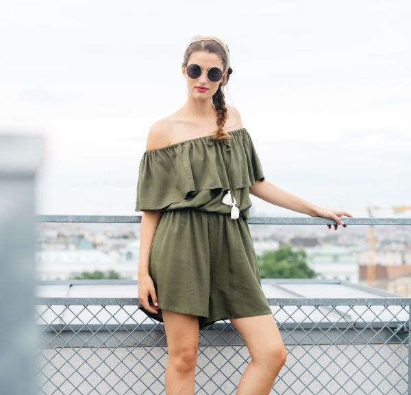 mit Handkuss_Playsuit_Off Shoulder Green