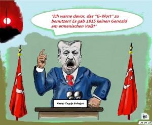 Erdogan warnt davor, der Türkei den Genozid am armenischen Volk zu unterschieben.