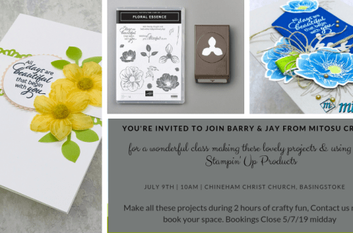 Join us for our next card making class on the 9th July 2019 in Basingstoke