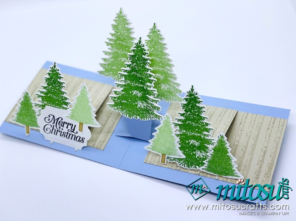 Winter Woods Stampin Up! Project Ideas for Stamp Review Crew from Mitosu Crafts WOW Twisting Pop Up Card