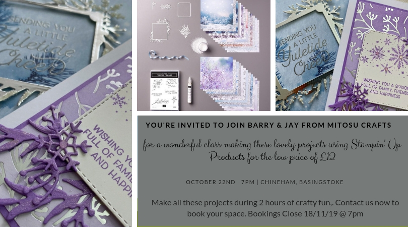 Mitosu Crafts Basingstoke Cardmaking Class on the 22nd October