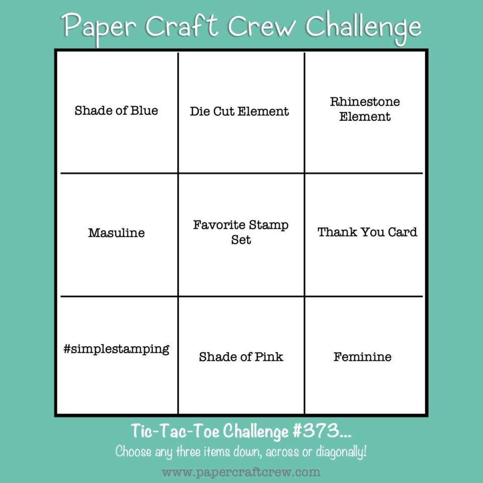 Paper Craft Crew Tic Tac Toe Cardmaking Challenge Inspiration #PCC373. Order supplies online from Mitosu Crafts UK