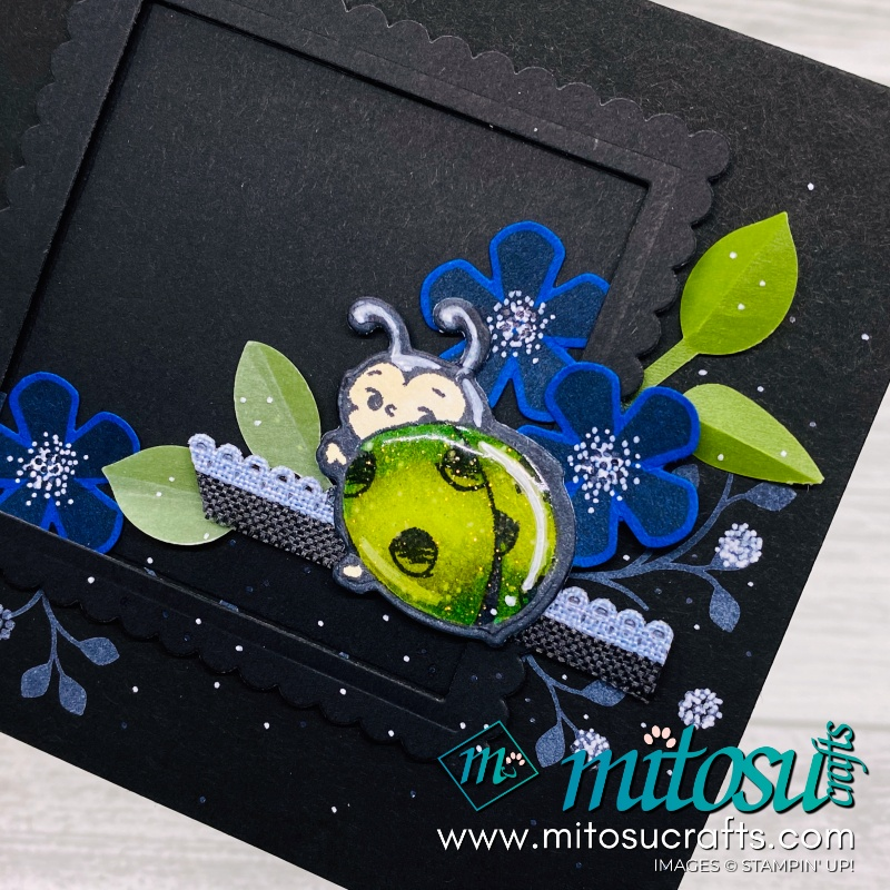 Thoughtful Blooms Shimmery Little Ladybug Black Card Idea for Papercraft Crew Challenge from Mitosu Crafts UK