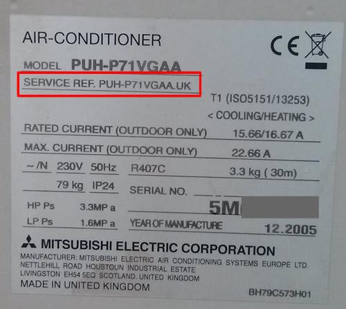 Aire acondicionado Mitsubishi conductos, Modelo y Service Ref