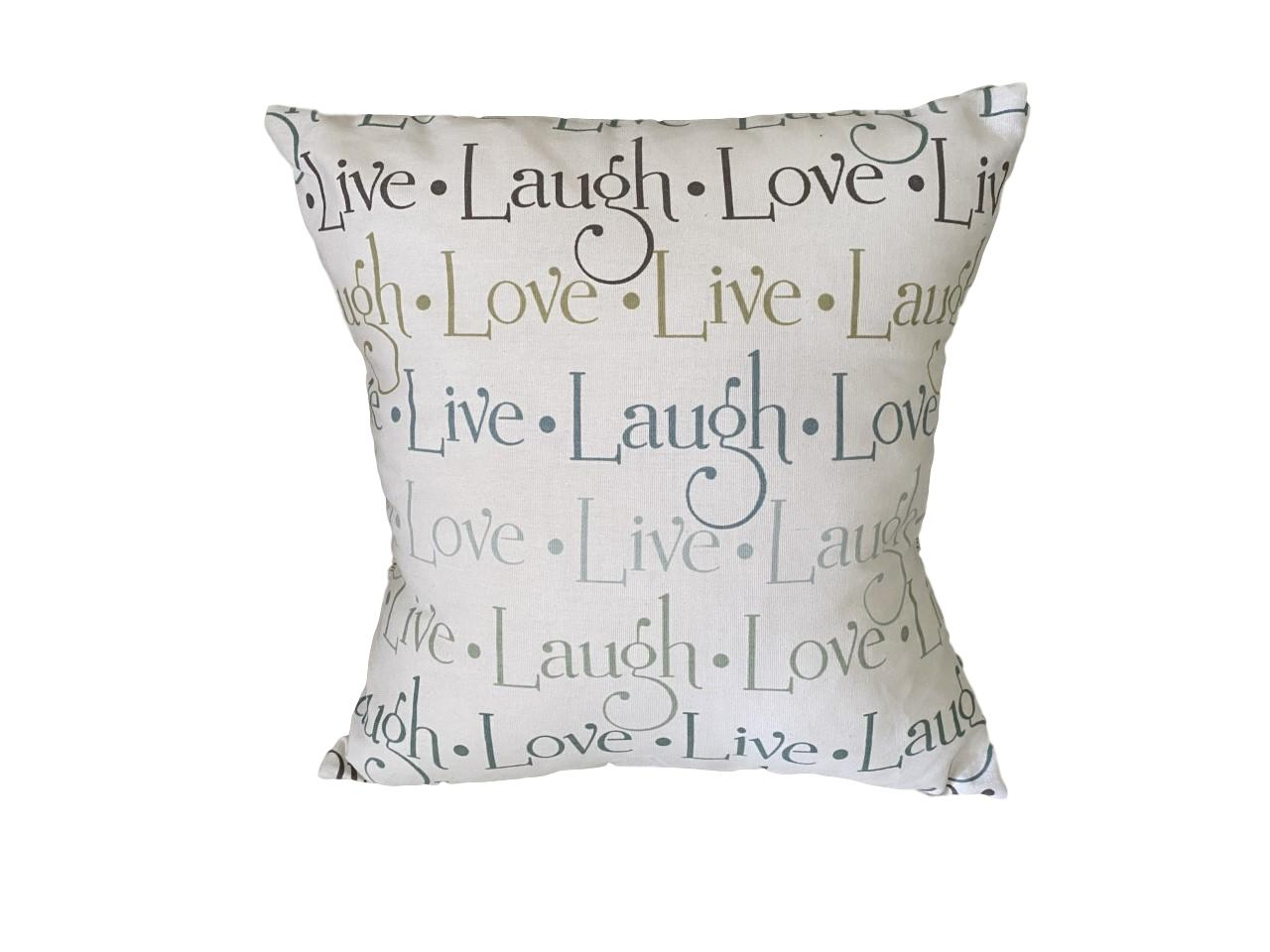 16 home decor pillow kit with insert included live laugh love writing in light teal tan light blue and taupe on off white