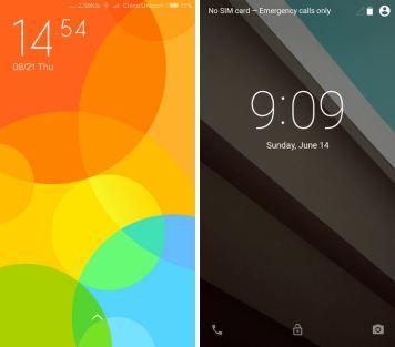 Schermata di blocco MIUI 6 vs Android L