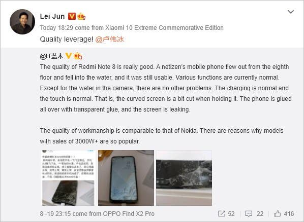 Redmi Note 8 caduta 8° piano Lei Jun