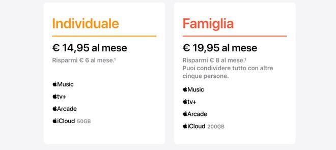 Apple One prezzi