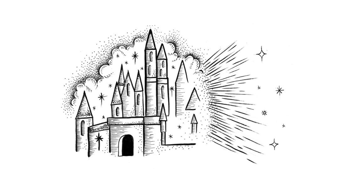 La linterna mágica y La casa de Disney: los cines de mi infancia tenían diamantina. Ilustración de Christian Castañeda