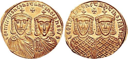 Νόμισμα που απεικονίζει τον Κωνσταντίνο Στ' με τον Λέοντα Δ'