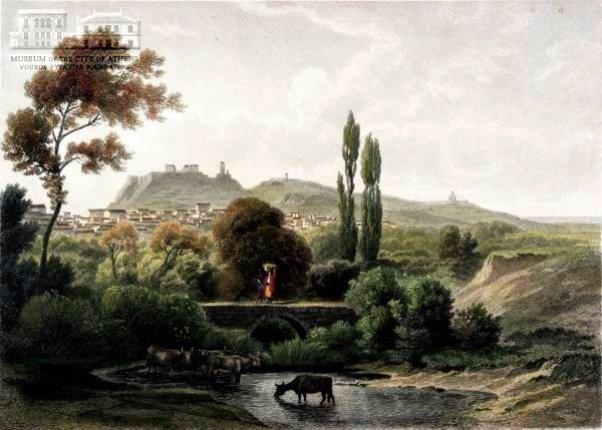 Αθήνα με Ακρόπολη: μερική άποψη από τον Κυκλόβορο εκεί που είναι σήμερα η Πλατεία Μεταξουργείου. AUG. LOFFLER (1822-1866) (ζωγράφος) & A.FESCA (χαράκτης)