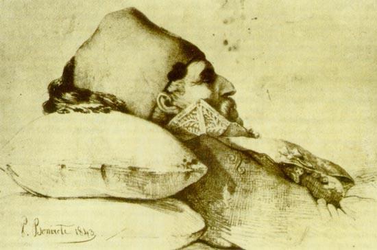 Απεικόνιση του Κολοκοτρώνη στο νεκρικό κρεβάτι.