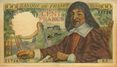 Ο Καρτέσιος σε χαρτονόμισμα των 100 φράγκων