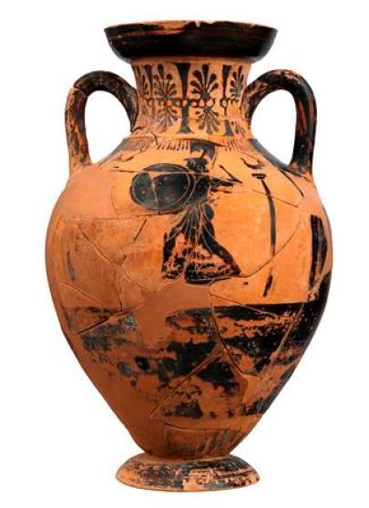 Αμφορέας Παναθηναϊκού σχήματος με παράσταση οπλισμένης Αθηνάς και αγώνα δρόμου που είχε χρησιμοποιηθεί ως τεφροδόχος.