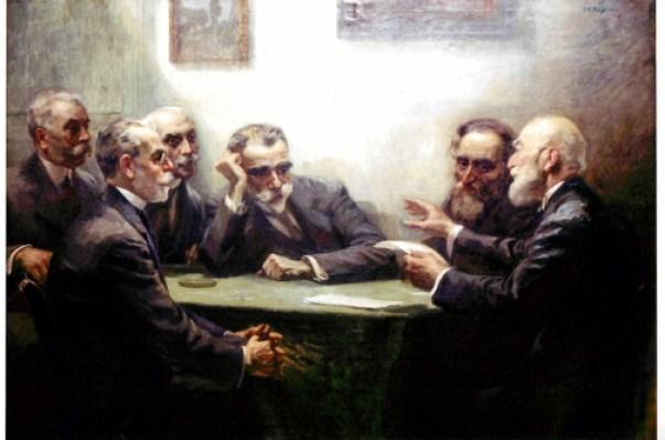 Ο Σουρής, δεύτερος από δεξιά δίπλα στον Α. Προβελέγγιο. Δίπλα του προα τα αριστερά: Κ. Παλαμάς, Γ. Δροσίνης και