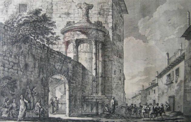 To μνημείο ενσωματωμένο με το μοναστήρι των Καπουτσίνων. Δεξία η αρχαία οδός Τριπόδων, η οποία πήρε το όνομα της από τα τρίποδα, δηλαδή τα έπαθλα των χορηγών Αθήνα 1755, Έργο του Γάλλου αρχιτέκτονα Julien-David Leroy