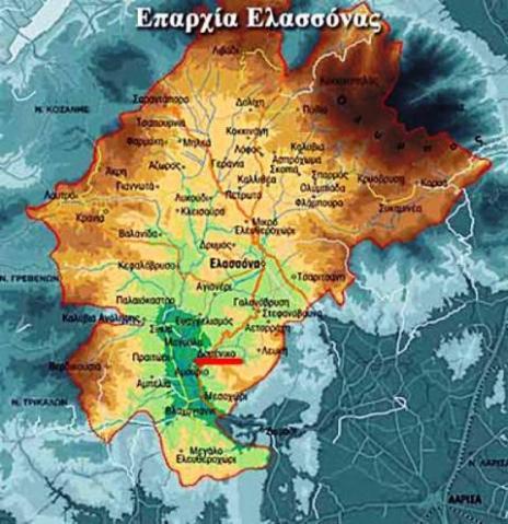 Το Δομένικο σημειωμένο με κόκκινο χρώμα στον χάρτη