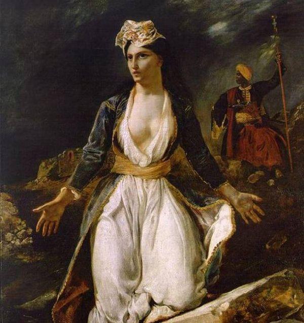 """""""Η Ελλάδα στα ερείπια του Μεσολογγίου"""" 1826, Ευγένιος Ντελακρουά, εμπνευσμένος από την τρίτη πολιορκία. Ελαιογραφία σε καμβά, Μουσείο καλών τεχνών στη Μπορντό"""