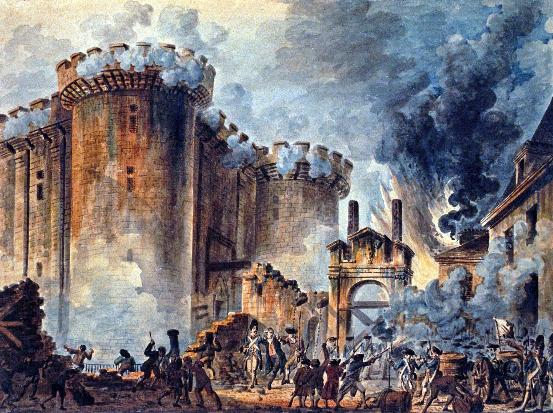 Βαστίλη, η διάσημη φυλακή της Γαλλίας που έγινε σύμβολο διαφθοράς της βασιλικής εξουσίας. Οι επαναστάτες πολιόρκησαν το φρούριο, έκοψαν το κεφάλι του διοικητή και το περιέφεραν σε όλο το Παρίσι
