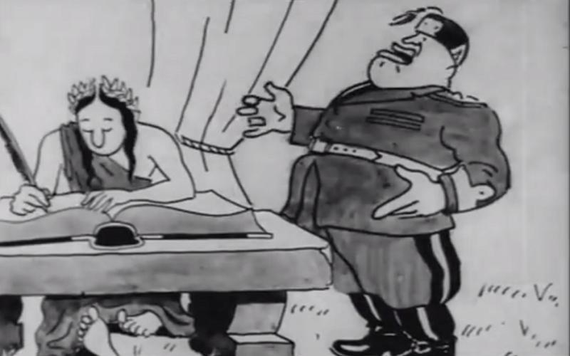 Η πρώτη ελληνική ταινία κινουμένων σχεδίων ήταν αντιφασιστική. Γελοιοποιούσε τον Μουσολίνι και σχεδιάστηκε κρυφά στη Σίφνο την περίοδο της Κατοχής. Αν και δεν υπήρχε εμπειρία ήταν μια καταπληκτική προσπάθεια (Βίντεο)