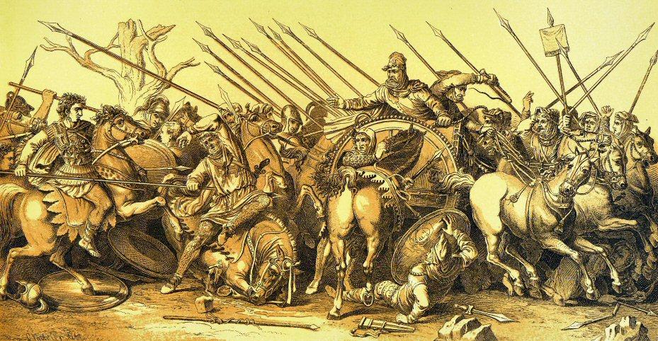 Η απόλυτη κυριαρχία του Μ. Αλεξάνδρου στη Μεσόγειο. Στη Μάχη της Ισσού ο Δαρείος τράπηκε σε φυγή και η οικογένειά του αιχμαλωτίστηκε. Ο περσικός στρατός ήταν εξαπλάσιος σε μέγεθος, αλλά ηττήθηκε