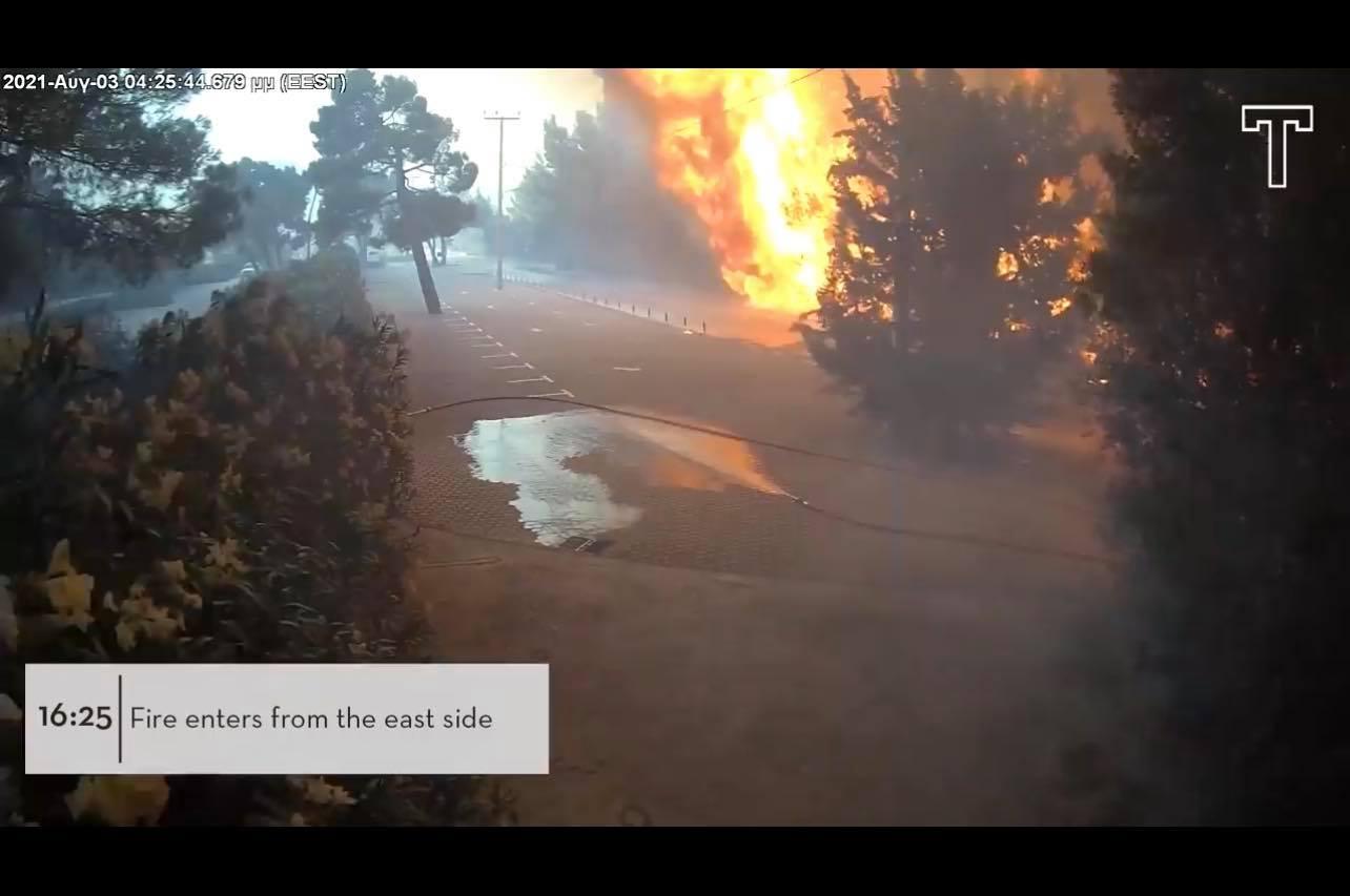 Βαρυμπόμπη. Αποκαλυπτικό βίντεο από κάμερες ασφαλείας δείχνει τη μάχη με τις φλόγες των ανθρώπων στο Tatoi Club