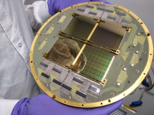 The BICEP2 telescope's focal plane consisting of 512 superconducting microwave detectors, developed and produced at NASA's Jet Propulsion Laboratory [Jamie Bock should edit this caption!]