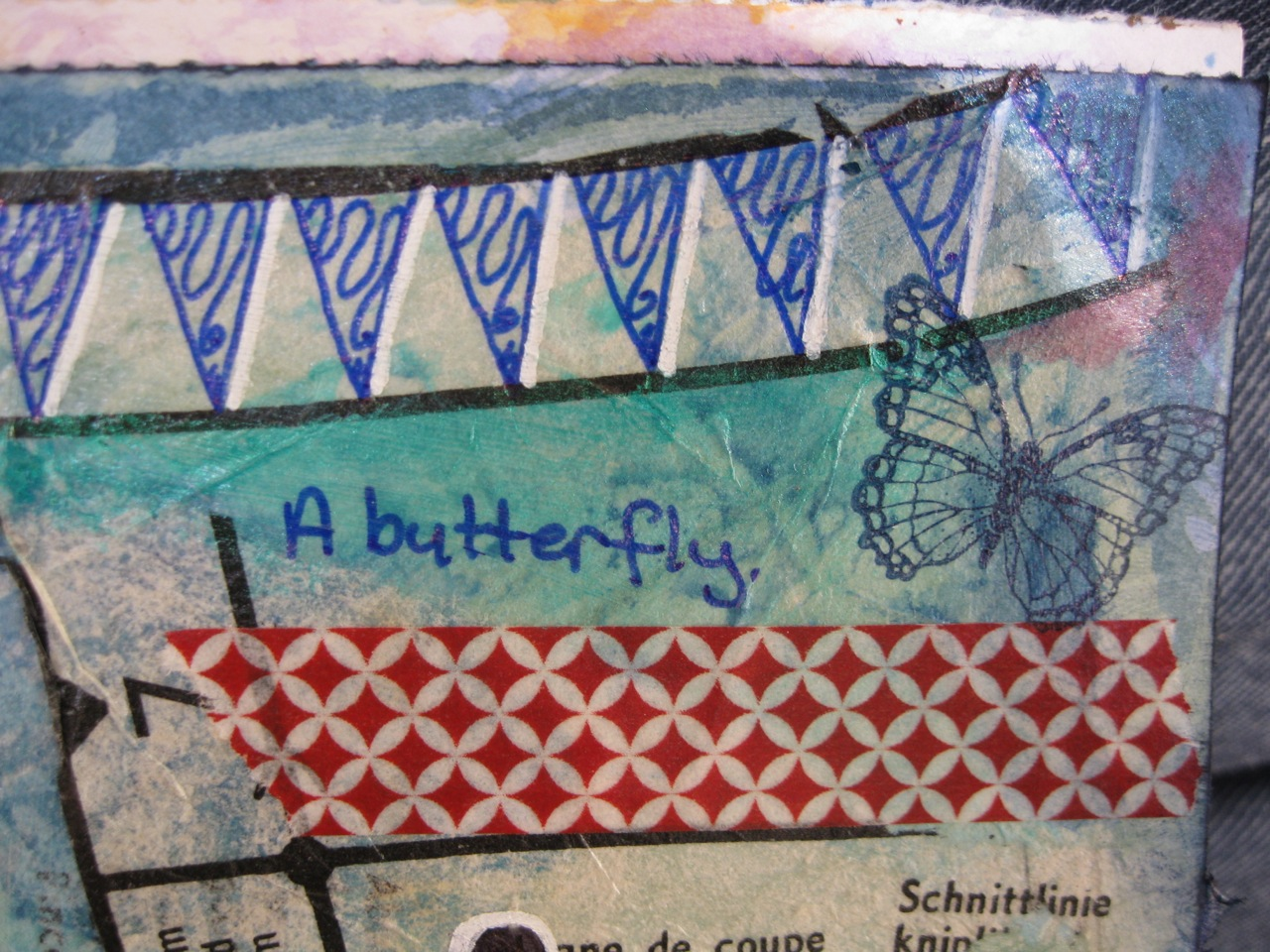 Using sewing pattern tissue is an easy way to add interest to you art journal