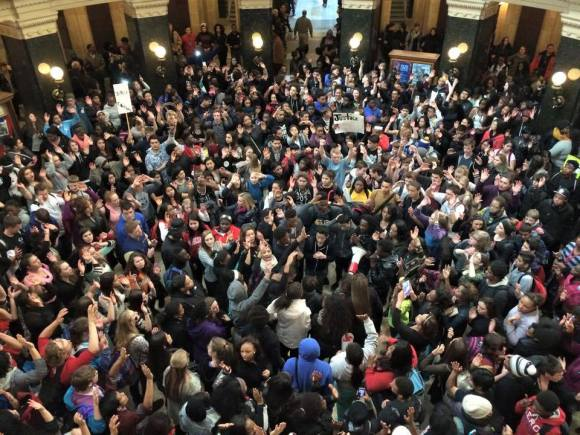 Youth protest in the Capitol Rotunda. Photo Credit: Melissa Sargent