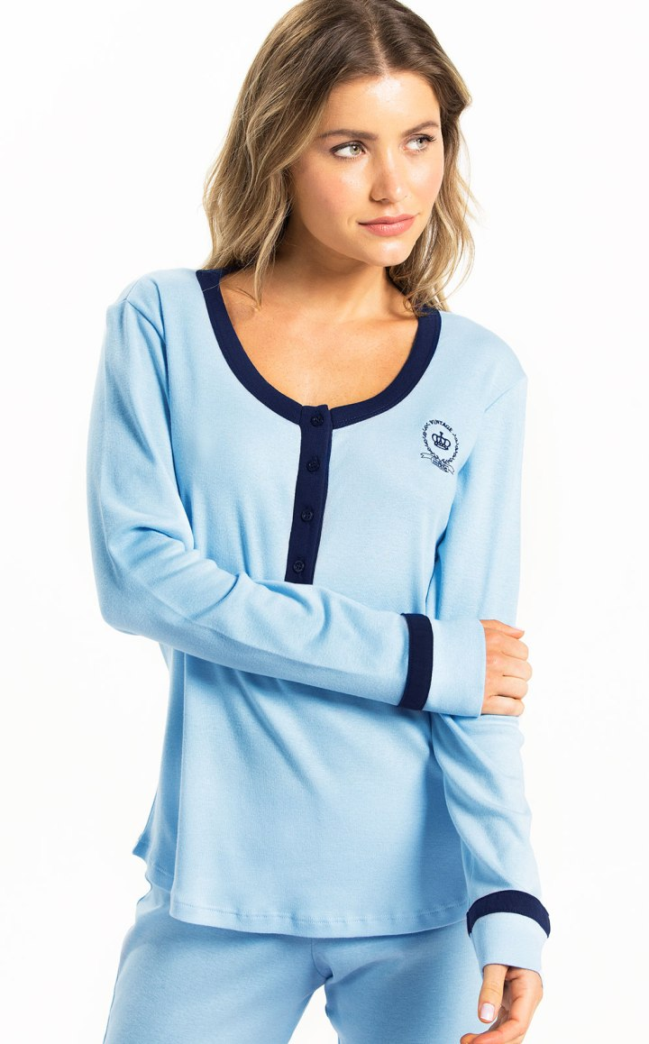 Pijama Blusa Manga Longa com Calça Legging