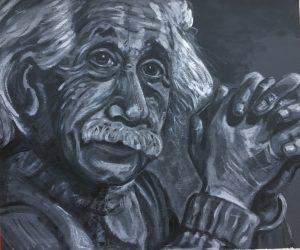 Einstein - €150,- / Acryl op papier 70 x 90