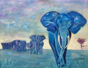 Olifanten - In opdracht / Acryl op doek 70 x 90