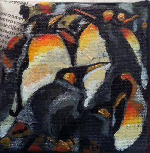 Pinguïns (mini) / Acryl op doek 10 x 10
