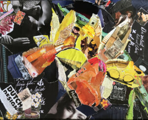 Narcis - €250,- / Collage op canvas 40 x 50