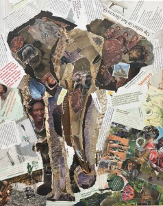 Afrika - €450,- / collage op canvas 40 x 50